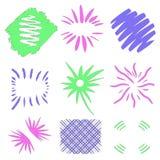 Grenzen und Rahmen Sun-Explosionen Handdrawn Gestaltungselemente durch Tinte, Stift Leuchte des Vektorart Blaue grüne Illustratio stock abbildung