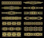 Grenzen van de art deco de vectordielijn in jaren '20 grafische stijl worden geplaatst Stock Afbeelding