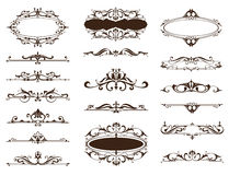 Grenzen van ontwerp de uitstekende ornamenten, kaders, hoeken Stock Afbeelding