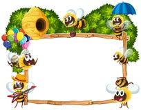 Grenzschablone mit dem Bienenfliegen vektor abbildung