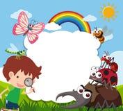 Grenzschablone mit Jungen und vielen Insekten vektor abbildung