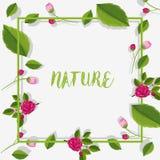 Grenzschablone mit Rosen und Blättern Stockfotos