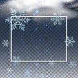 Grenzschablone mit Schneeflocken im Himmel Lizenzfreie Stockbilder
