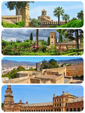 Grenzsteine in Andalusien, Spanien, Collage Stockbilder