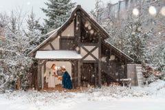 Greppia all'aperto di Natale Fotografie Stock