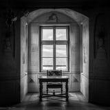 GRESSONEY ITALIEN - Januari 6th: Inre av slotten Savoia Arkivbild