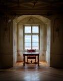 GRESSONEY ITALIEN - Januari 6th: Inre av slotten Savoia Royaltyfri Foto