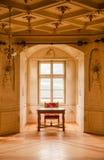 GRESSONEY ITALIEN - Januari 6th: Inre av slotten Savoia Royaltyfri Fotografi