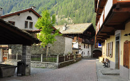 Gressoney village, Aosta Valley. Royalty Free Stock Photos