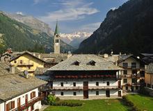 Gressoney village, general view, Aosta Valley. Stock Photos