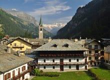Gressoney village, general view, Aosta Valley. Gressoney village and Monte Rosa in the background, Aosta Valley, Italy Stock Photos