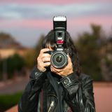 Greta και η κάμερα Στοκ φωτογραφίες με δικαίωμα ελεύθερης χρήσης
