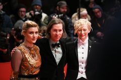 Greta Gerwig, Wes Anderson and Tilda Swinton during Berlinale 2018 Stock Photos