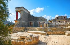 GRETE ISLAND, GREECE, SEP 12, 2012: Antique Knossos temple palace near to Heraklion. Palace of Minos Greek architecture. Greece my royalty free stock image