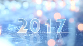 2017 greting and christmas lights. 2017 greting and blurred christmas lights Stock Photo