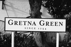 Gretna Green sculpture. Gretna Green sign by the Blacksmiths Shop Stock Images