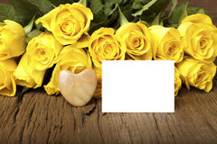 Grettings with a bouquet of yellow roses Stock Photo