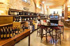 Greve in Chianti, Italy - April 21, 2018: Enoteca Falorni, the largest enoteca in Tuscany located in the historical centre of. Greve in Chianti, Italy stock photography