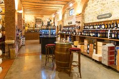 Greve in Chianti, Italy - April 21, 2018: Enoteca Falorni, the largest enoteca in Tuscany located in the historical centre of. Greve in Chianti, Italy royalty free stock images