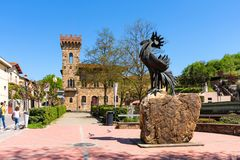Greve in Chianti, Italy - April 21, 2018: The statue of a black rooster, the symbol of Chianti, Tuscany, Italy.  stock image
