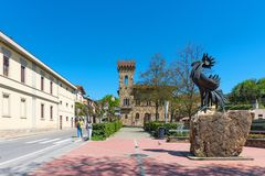 Greve in Chianti, Italy - April 21, 2018: The statue of a black rooster, the symbol of Chianti, Tuscany, Italy.  royalty free stock images