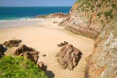Greve de Lecq Beach, Jersey, Regno Unito immagini stock