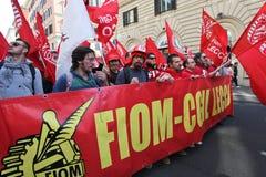 Greve geral dos Metalworkers em Italy Foto de Stock