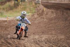 GREVENBROICH, ALLEMAGNE - 1ER OCTOBRE 2016 : Combats non identifiés d'un cavalier de motocross pour la qualification Photos stock
