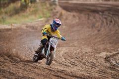 GREVENBROICH, ALLEMAGNE - 1ER OCTOBRE 2016 : Combats non identifiés d'un cavalier de motocross pour la qualification Image libre de droits