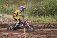 GREVENBROICH, GERMANIA - 1° OTTOBRE 2016: Lotte non identificate di un cavaliere di motocross per la qualificazione Fotografia Stock