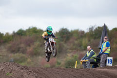 GREVENBROICH, GERMANY - OCTOBER 01, 2016: An unidentified motocross rider fights for qualification Stock Photos
