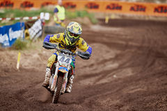 GREVENBROICH, GERMANY - OCTOBER 01, 2016: An unidentified motocross rider fights for qualification Stock Photography