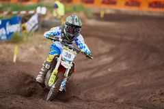 GREVENBROICH, GERMANY - OCTOBER 01, 2016: An unidentified motocross rider fights for qualification Royalty Free Stock Image