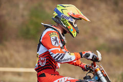 GREVENBROICH, GERMANY - OCTOBER 01, 2016: An unidentified motocross rider fights for qualification Stock Images