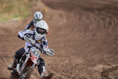 GREVENBROICH, GERMANY - OCTOBER 01, 2016: An unidentified motocross rider fights for qualification Royalty Free Stock Photos