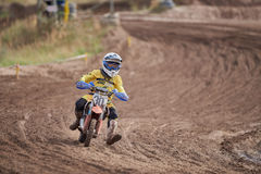 GREVENBROICH, GERMANY - OCTOBER 01, 2016: An unidentified motocross rider fights for qualification Stock Image