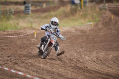 GREVENBROICH, GERMANY - OCTOBER 01, 2016: An unidentified motocross rider fights for qualification Royalty Free Stock Images
