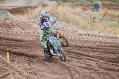 GREVENBROICH, GERMANY - OCTOBER 01, 2016: Unidentified motocross riders fight for qualification Royalty Free Stock Photos