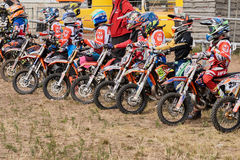 GREVENBROICH, GERMANY - OCTOBER 01, 2016: Younf moticross riders line up before their start Stock Image