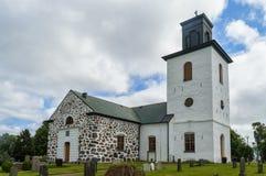 Grevie church in skane sweden. The white stone church at grevie  in the Skane region of Sweden Royalty Free Stock Photos