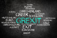 Grexit Concept in a Simple Word Tag Cloud on Board Stock Image