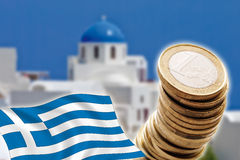 Grexit, Euro coins, flag, Greece, Santorini. Grexit Concept with Euro coins and flag, Greece, Santorini, composite Stock Images