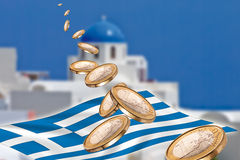 Grexit, Euro coins, flag, Greece, Santorini. Grexit and flying Euro coins, flag, Greece, Santorini concept composite Royalty Free Stock Photo