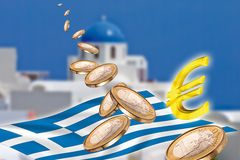 Grexit, Euro coins, flag, Greece, Santorini. Grexit and flying Euro coins, flag and euro sign, Greece, Santorini Stock Photography