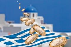 Grexit, Euro muntstukken, vlag, Griekenland, Santorini Royalty-vrije Stock Foto