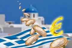 Grexit, Euro muntstukken, vlag, Griekenland, Santorini Stock Fotografie