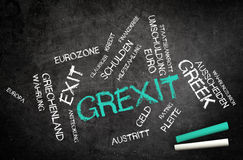 Grexit or Greek Exit with Related Words on Board Royalty Free Stock Photography