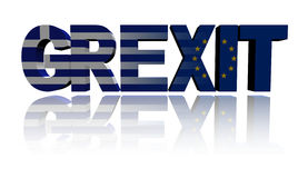 Grexit text with Greek and Eu flags Royalty Free Stock Photos