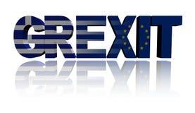 Grexit Text mit Grieche- und Eu-Flaggen Lizenzfreie Stockfotos