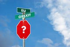 Grexitconcept met de post van het eindeteken Royalty-vrije Stock Afbeelding
